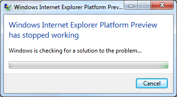 IE9 Crash